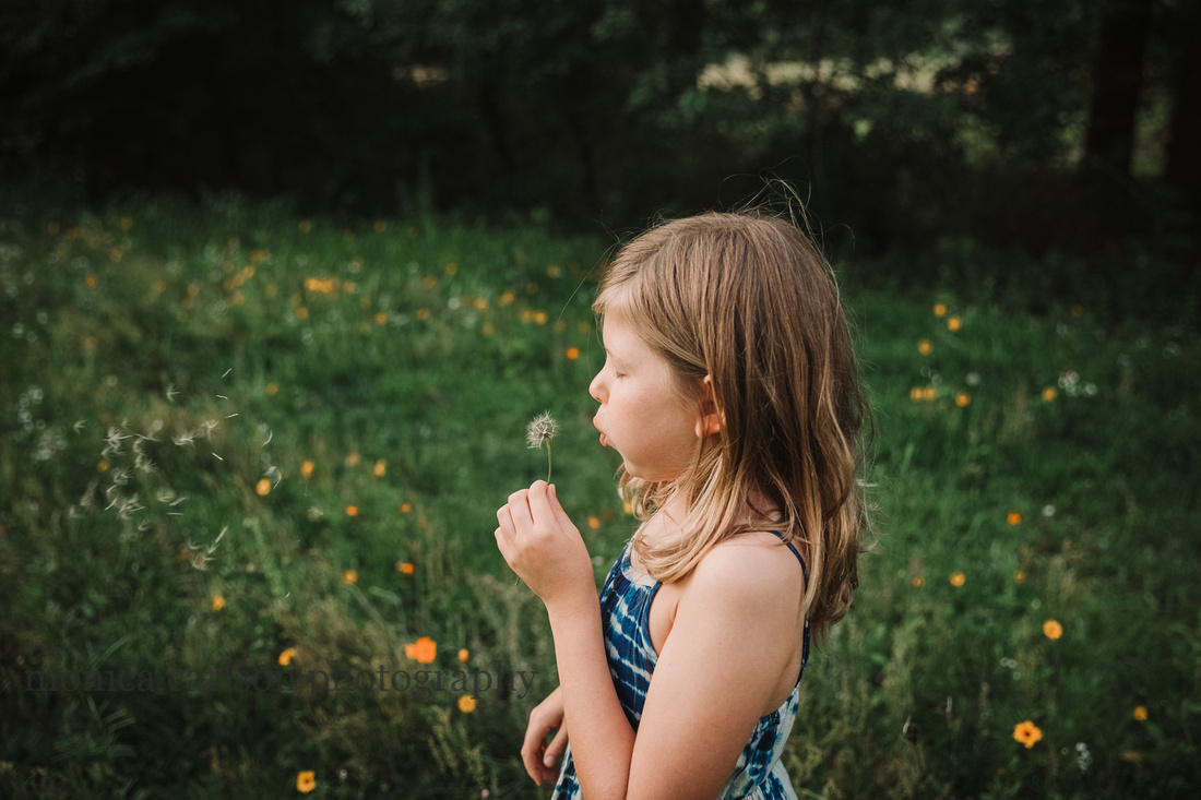 girl blows a wish from a dandelion on a flower field