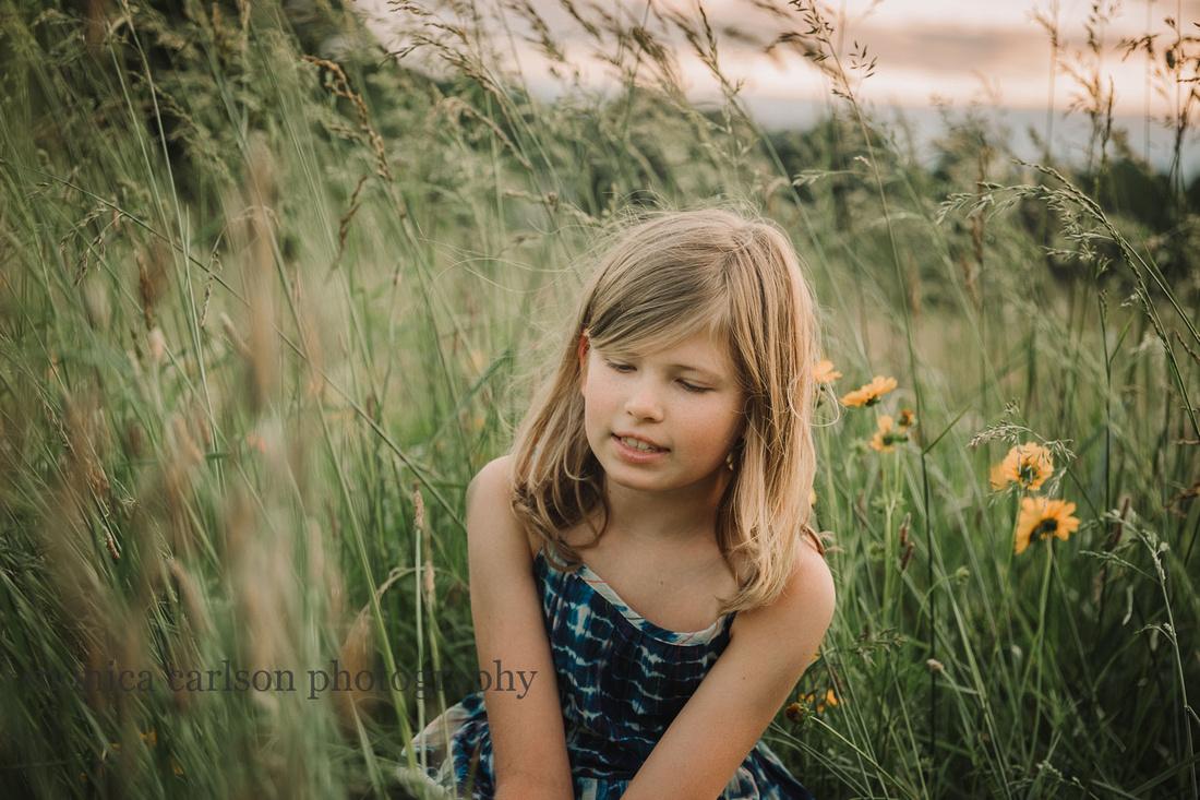 blonde girl on a flower field at Prospect Farm