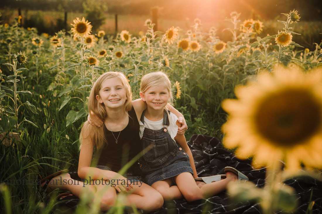 backlit image of two sisters sitting in a sunflower field by monica carlson photography