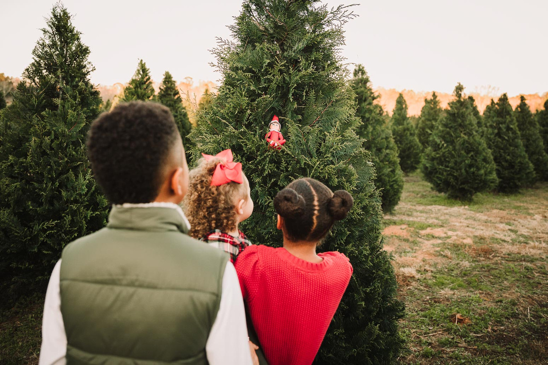 three kids looking at a elf that they found in a christmas tree at Bottoms Tree Farm in Cumming, GA