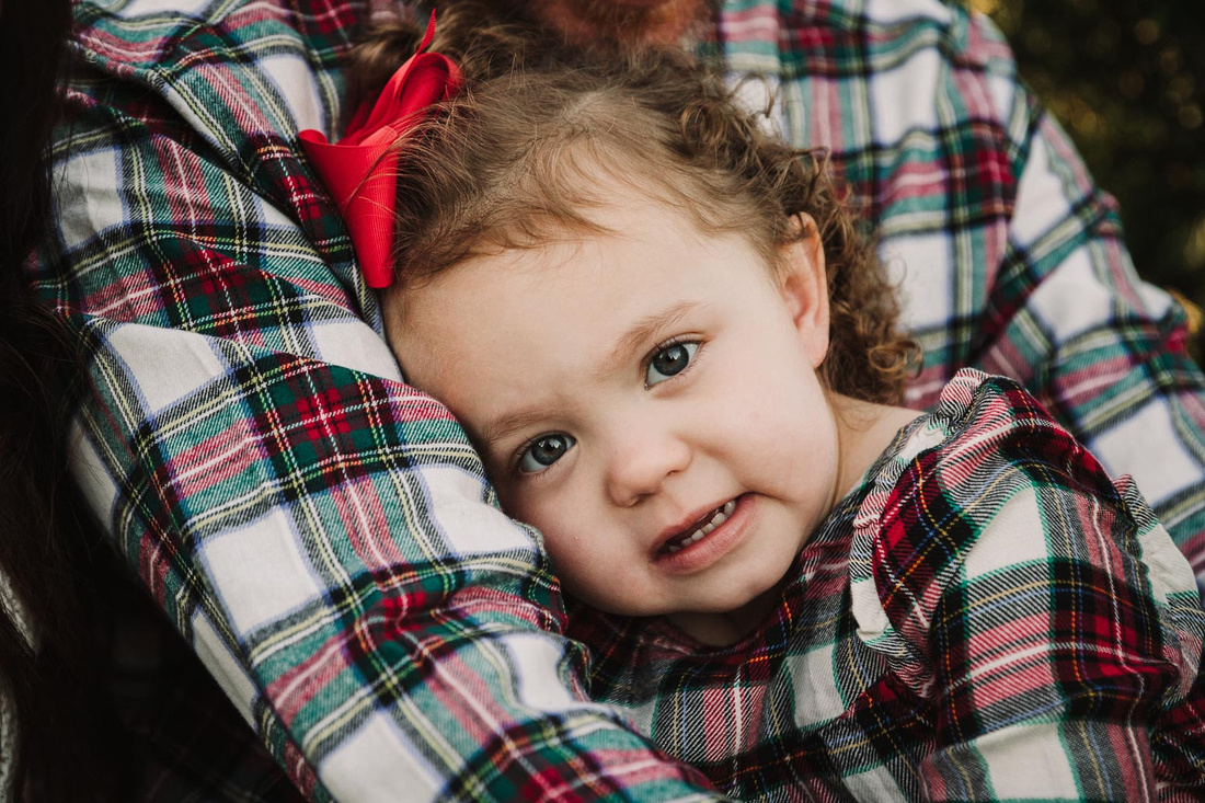 portrait of a little in a holiday outfit snuggling with her father