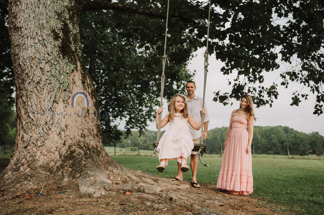 happy little girl is pushed by father on a tree swing while mom watches