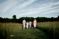 family walking on a open field