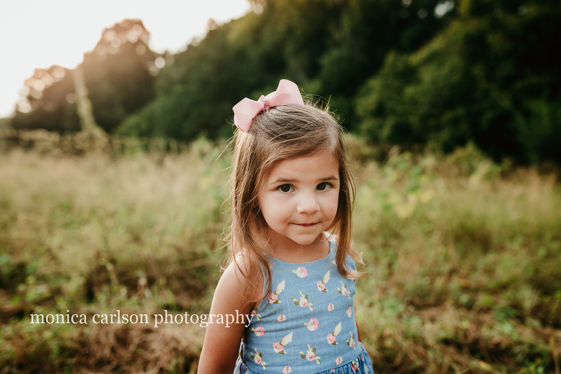 portrait of a little girl with a open field behind her by monica carlson