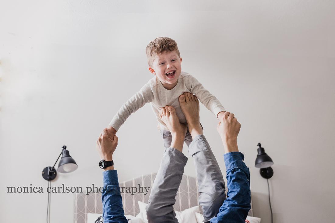 Little boy having fun with his father in Georgia