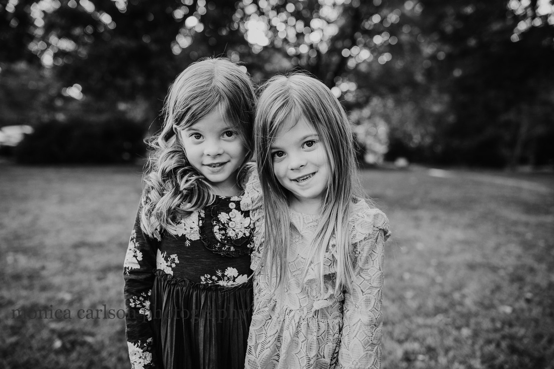 Black and white portrait of twin sisters by Monica Carlson Taken at Barrington Hall