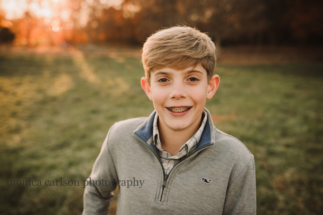 portrait of teen aged boy at sunset in Duluth, GA