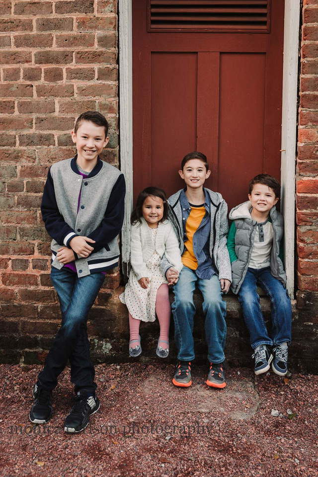 Four Siblings in front of the ice house at Barrington Hall