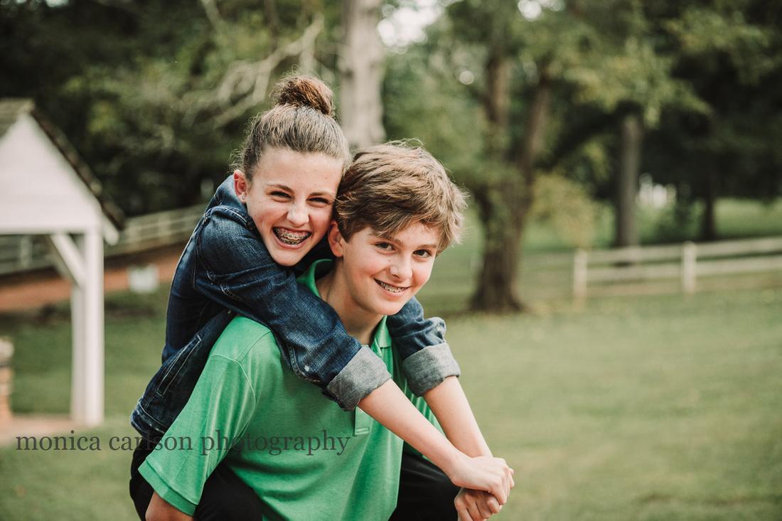 sweet portrait of teen siblings by monica carlson