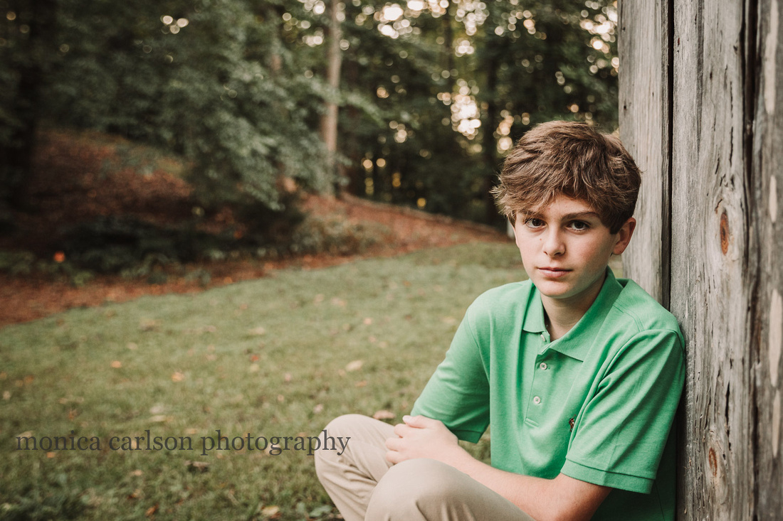 serious portrait of a teen boy at Bulloch hall