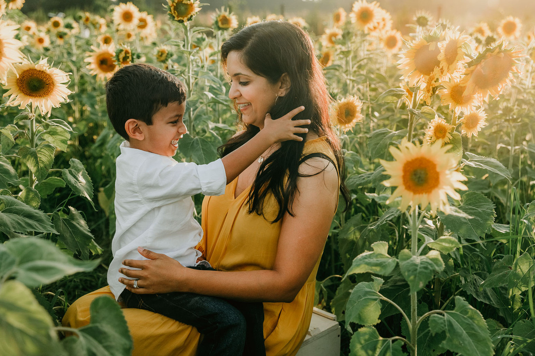 pre school boy plays with his mother's hair while sitting amoung sunflowers at prospect farms